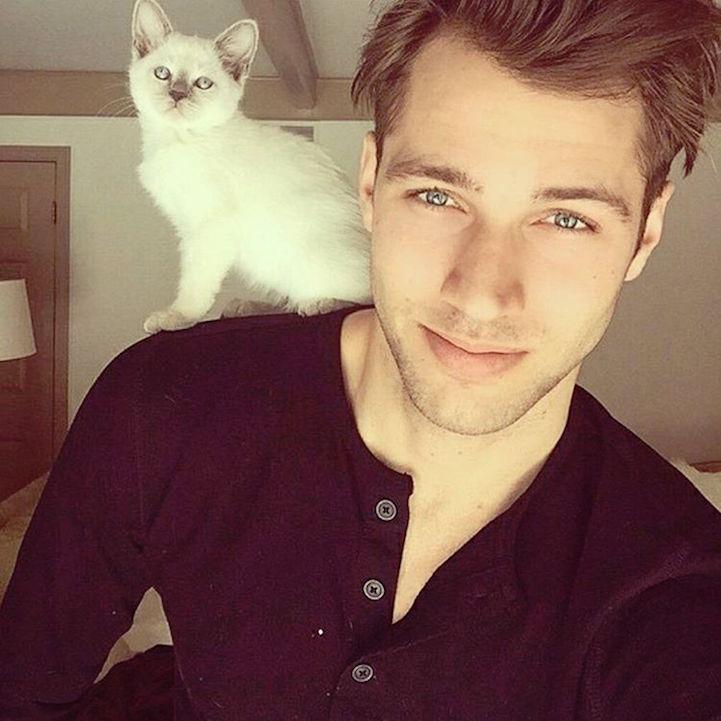 fotos de chicos guapos y gatos